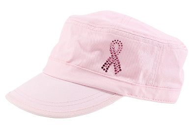 Cameron Military Cap with Pink Ribbon - dolly mama boutique