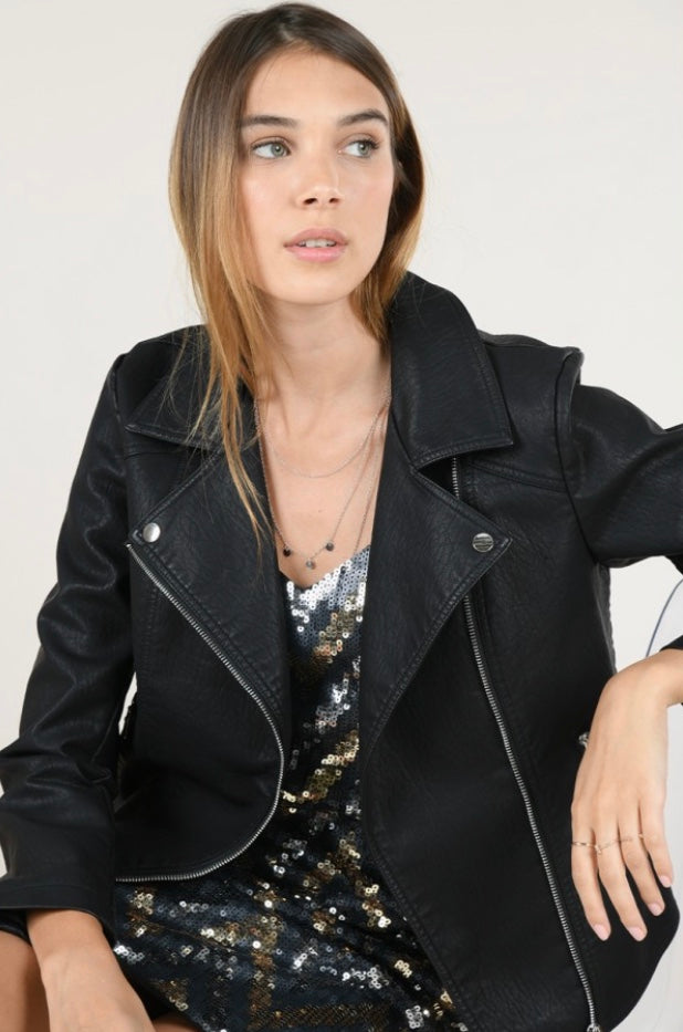 Vegan Black Leather Jacket - dolly mama boutique