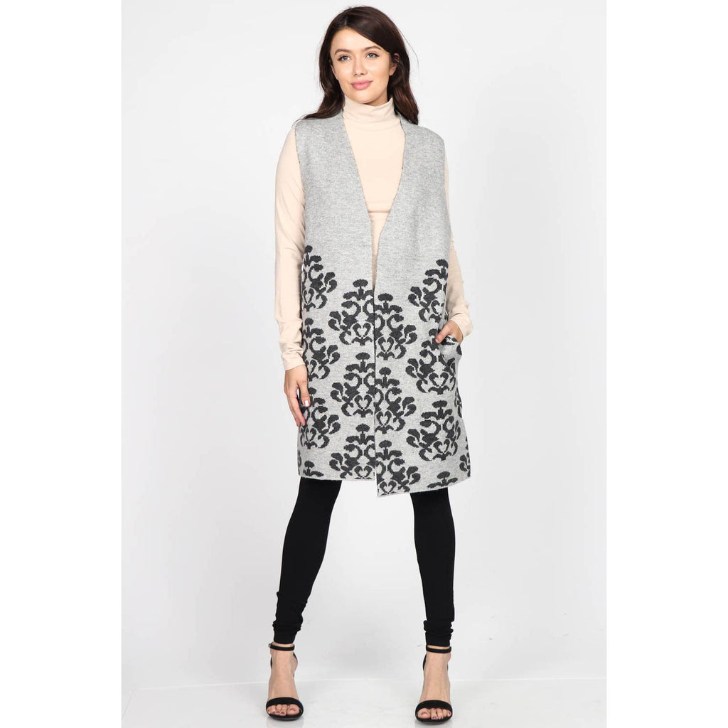 Sleeveless Vest with Jacuard Damask Design - dolly mama boutique