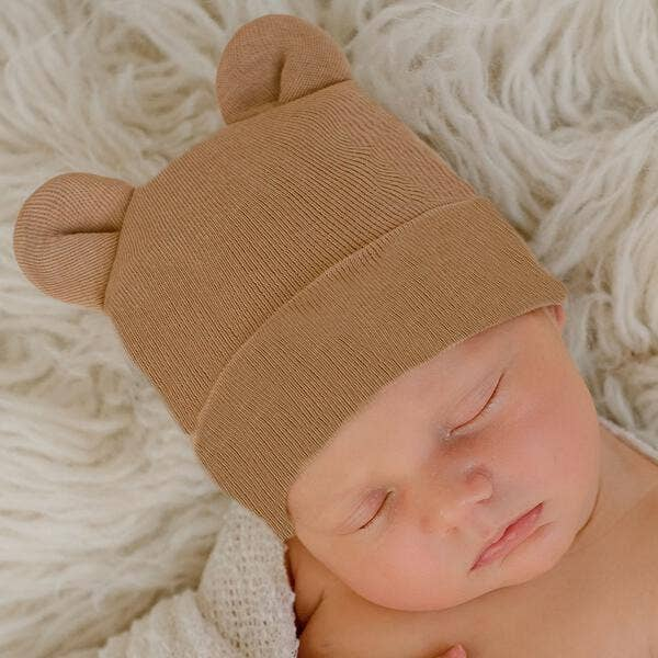 Tan Bear Newborn Hospital Hat