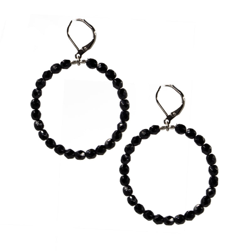 Seasonal Whispers Black Beaded Hoops - dolly mama boutique