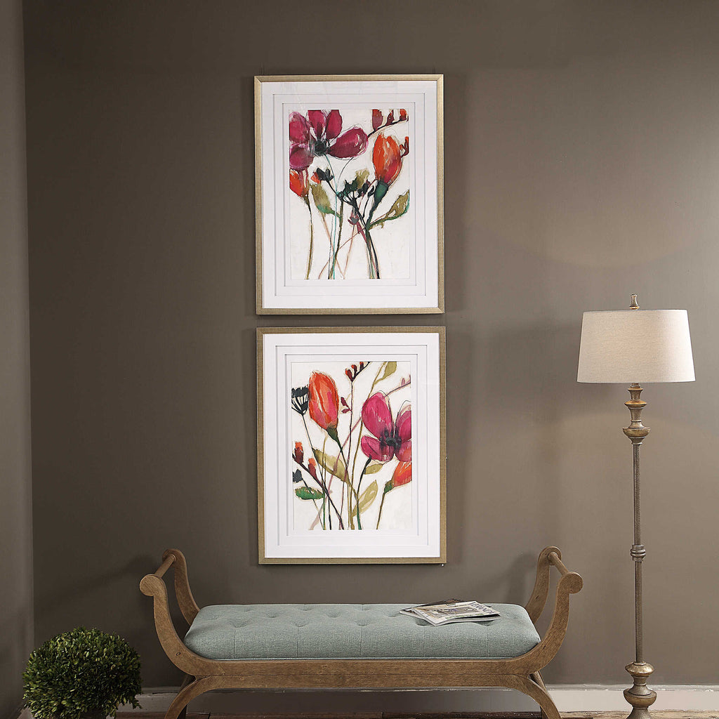 VIVID ARRANGEMENT FRAMED PRINTS, S/2 - dolly mama boutique