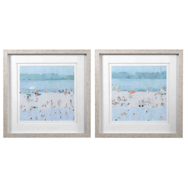 SEA GLASS SANDBAR FRAMED PRINTS S/2 - dolly mama boutique