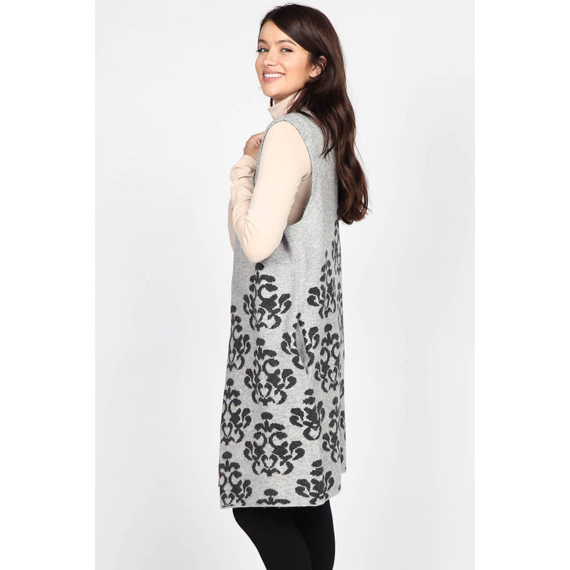 Sleeveless Vest with Jacuard Damask Design
