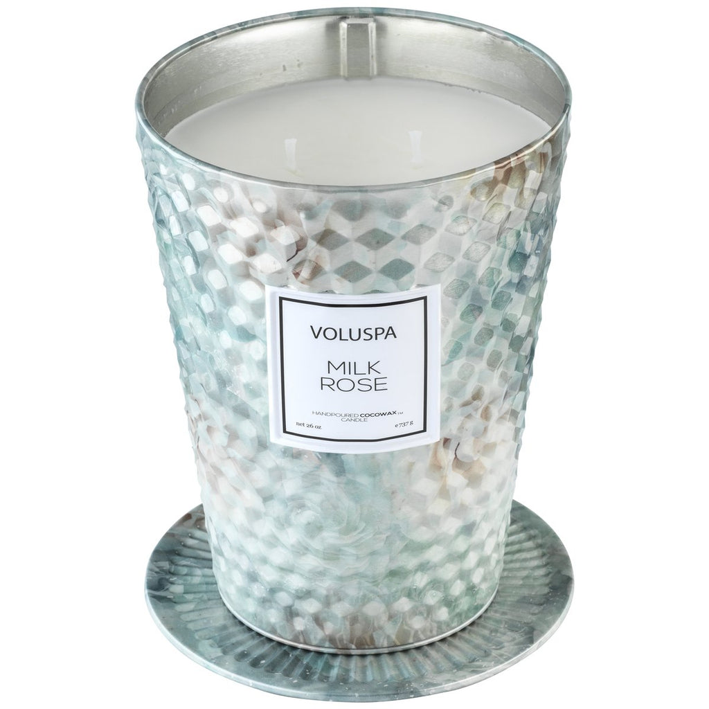 Milk Rose 2 Wick Table Tin - dolly mama boutique
