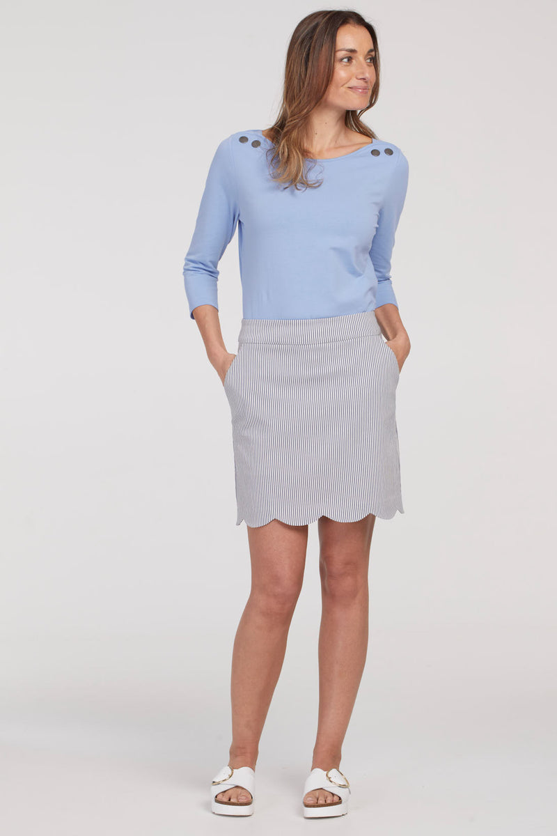 Scalloped Hem Pull On Skort - dolly mama boutique
