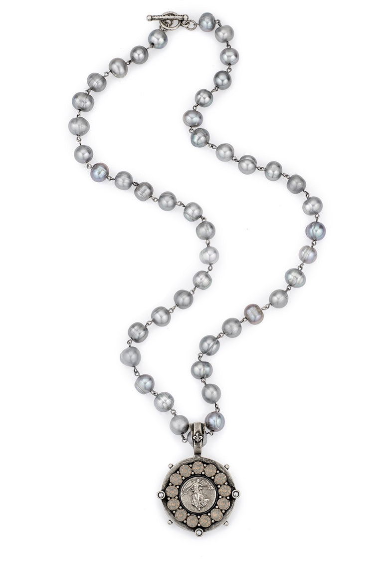 Pearls with Mini L'ange Medallion and Swarovski - dolly mama boutique