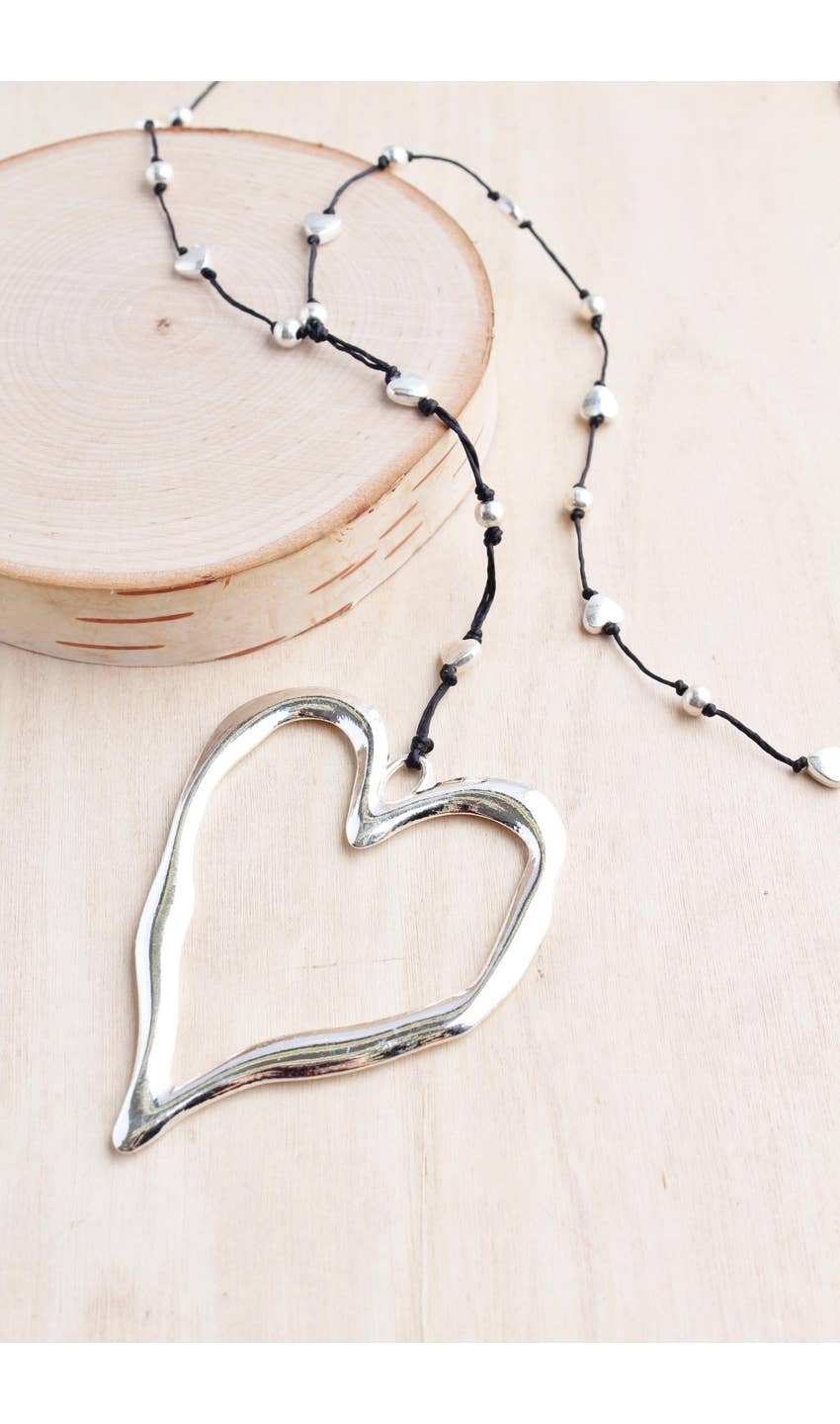 Large Silver Open Heart Necklace - dolly mama boutique
