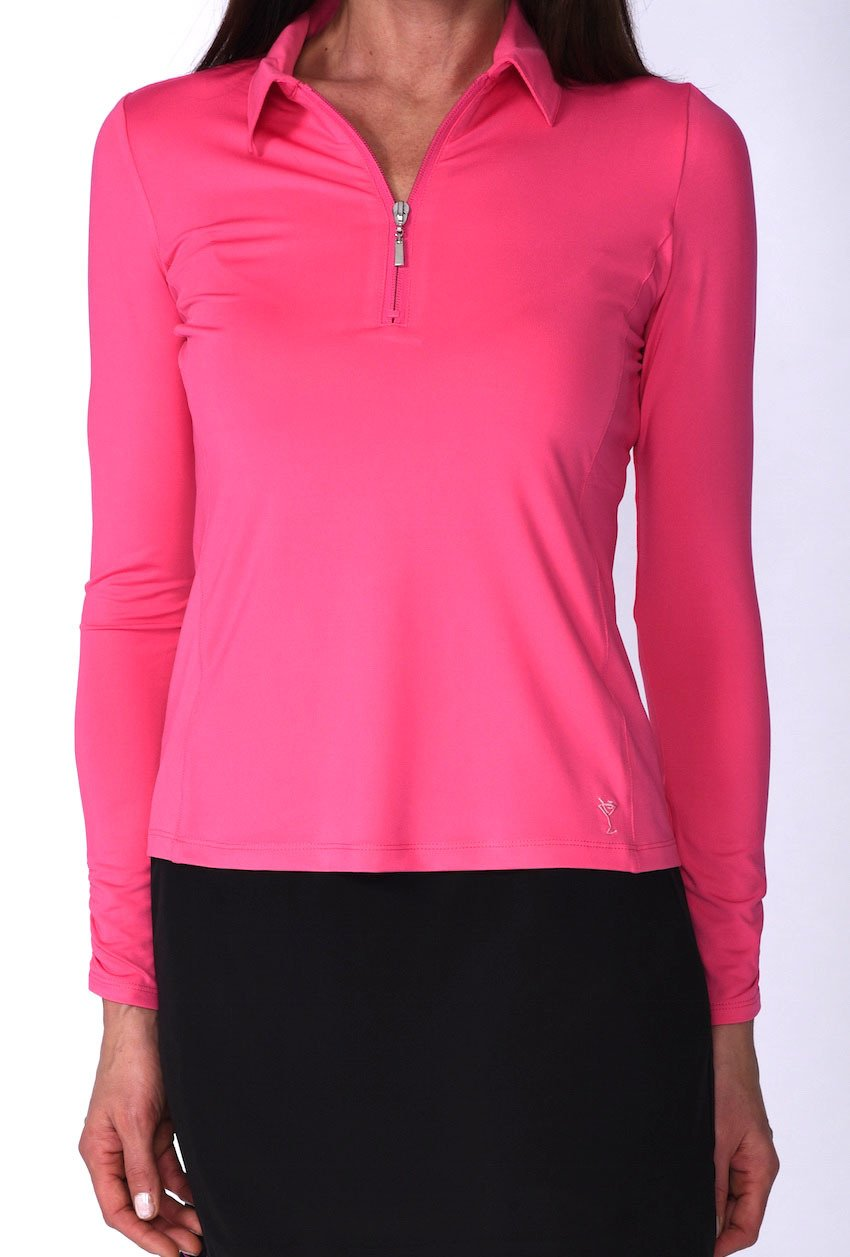 Hot Pink Long Sleeve Mesh Panel Zip Tech Polo - dolly mama boutique
