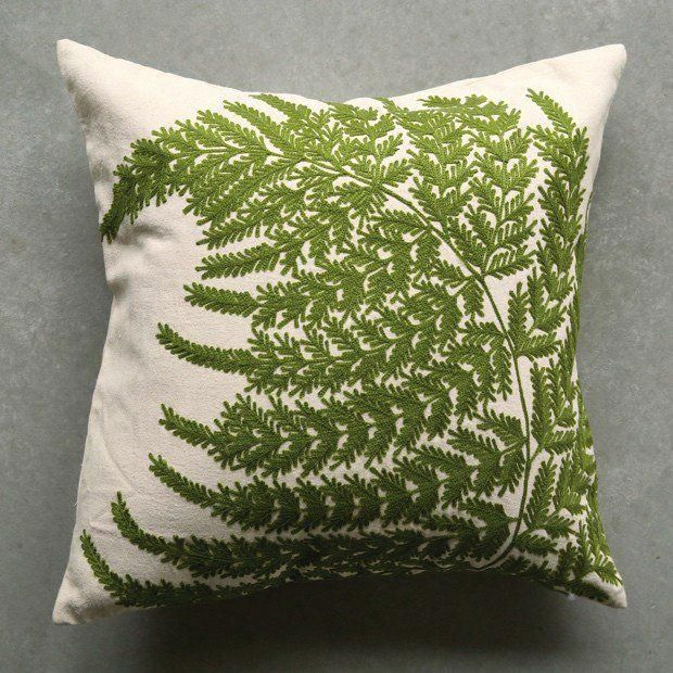 Fern Fronds Embroidery Square Pillow