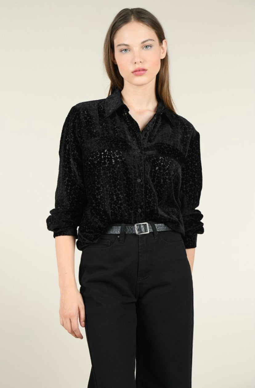 Velvet Semi-Sheer Blouse - dolly mama boutique