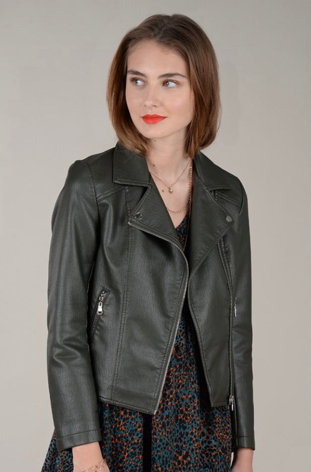 Vegan Khaki Leather Jacket - dolly mama boutique
