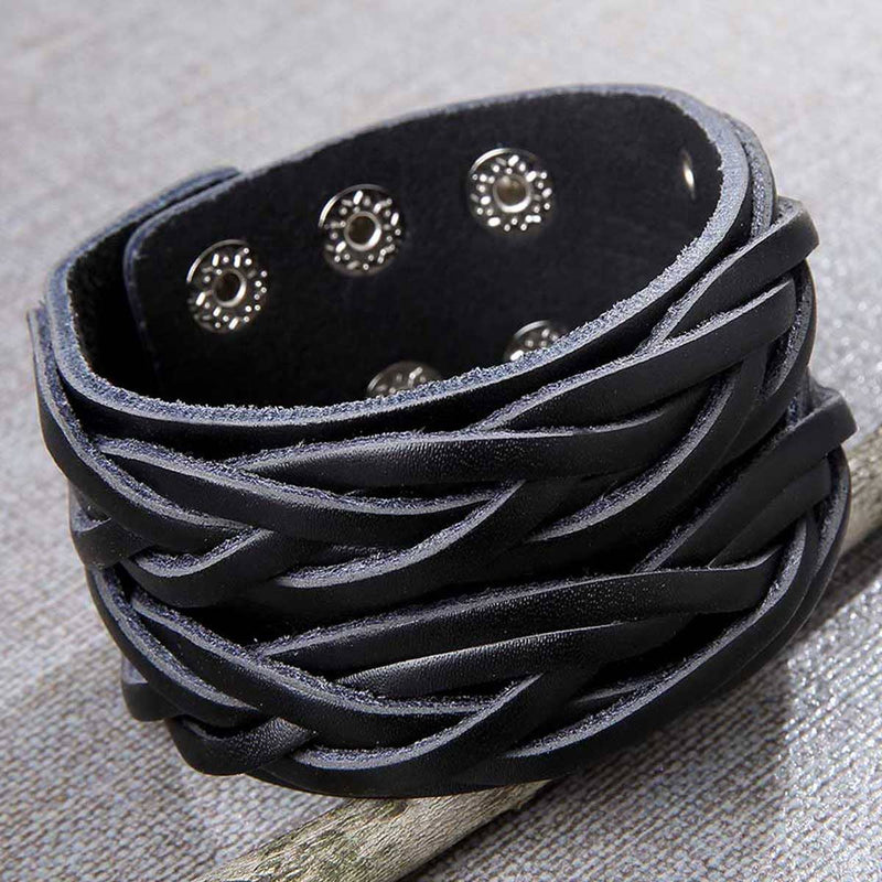 Men's Distressed Wide Bracelet - dolly mama boutique