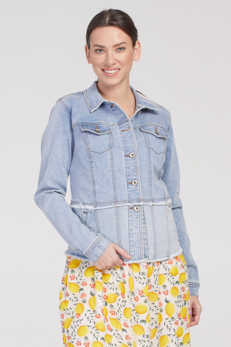 Empire Waist Jean Jacket with Frayed Hem - dolly mama boutique