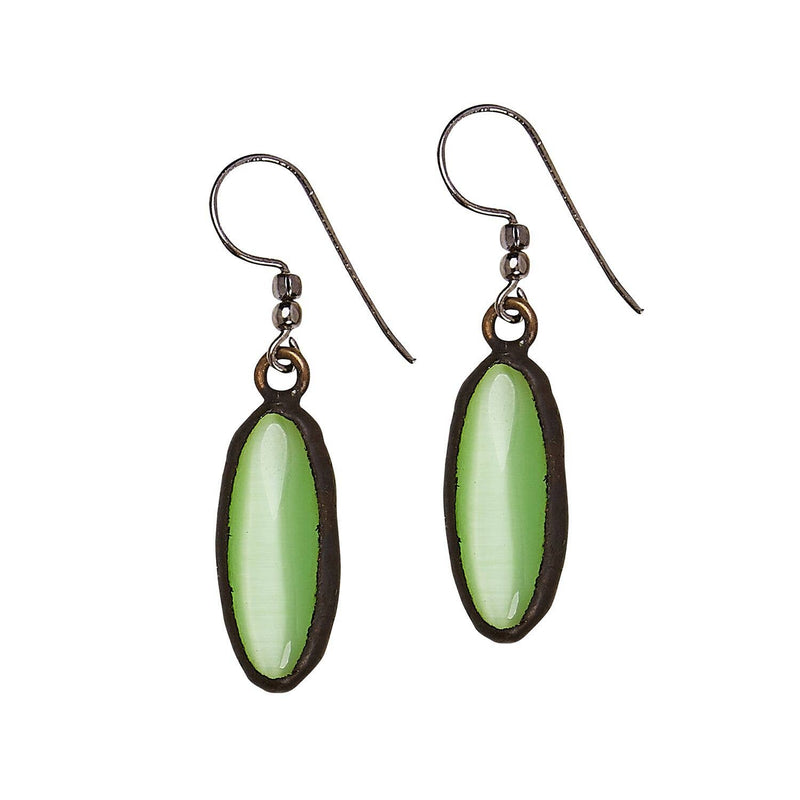 Green Cats Eye Stone Oval Earrings