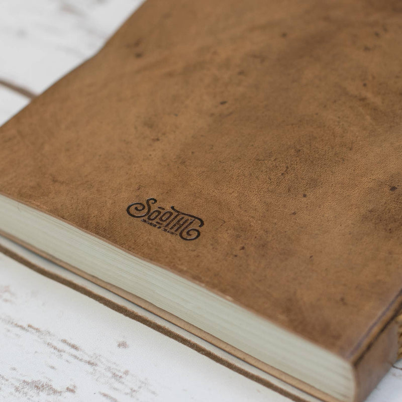 Square Size Moon Phases Embossed Leather Journal - dolly mama boutique
