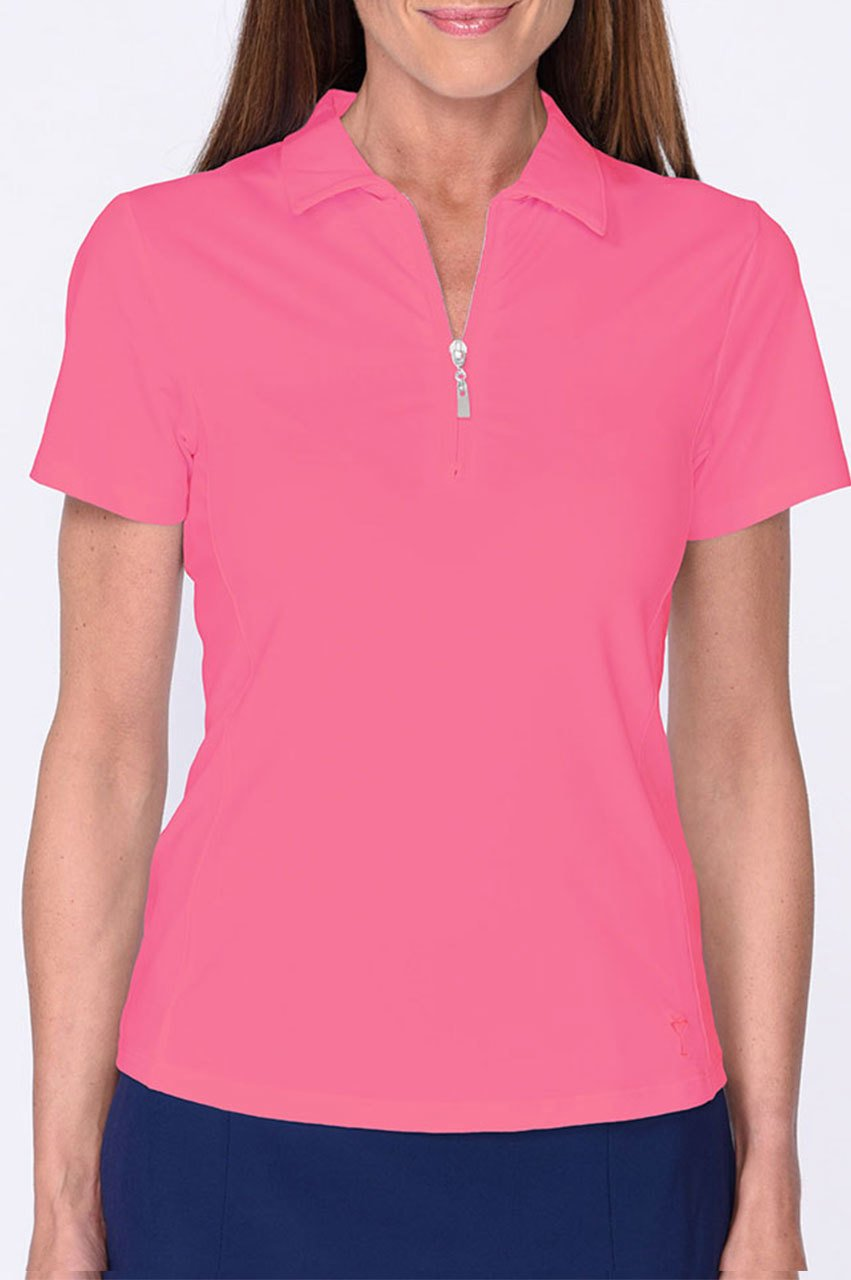Hot Pink Short Sleeve Zip Tech Polo - dolly mama boutique
