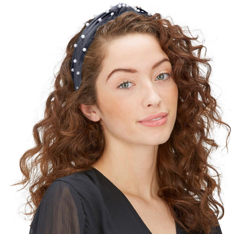 Velvet Headband with Pearls - dolly mama boutique
