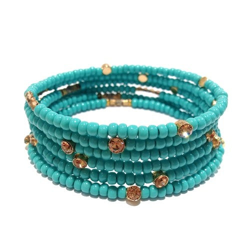 Seasonal Whispers Turquoise Beaded Bracelet - dolly mama boutique
