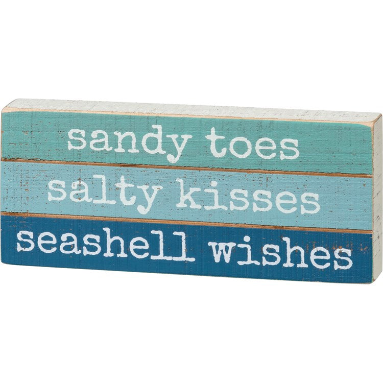 Sandy Toes Seashell Wishes Slat Block Sign - dolly mama boutique