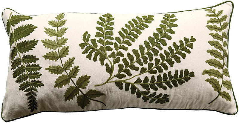 Fern Fronds Embroidery Rectangular Pillow