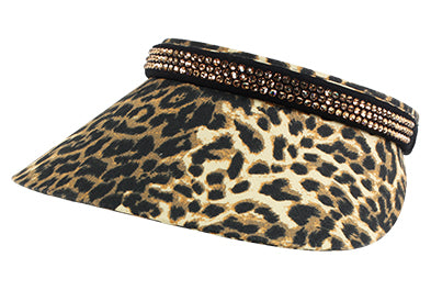 Audrey Clip-On Crystal Visor, Animal Print - dolly mama boutique