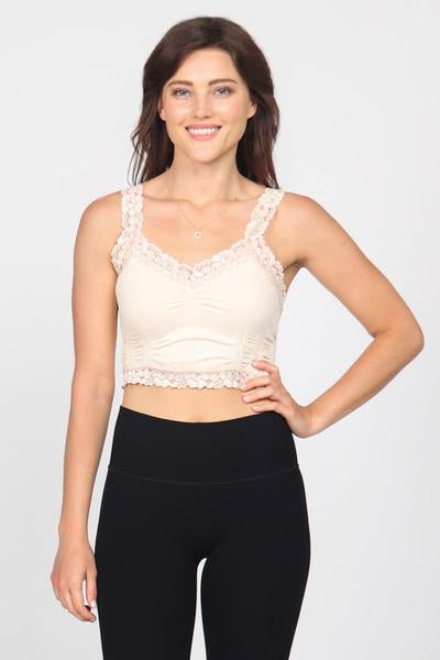 Seamless Crop Cami with Lace - dolly mama boutique