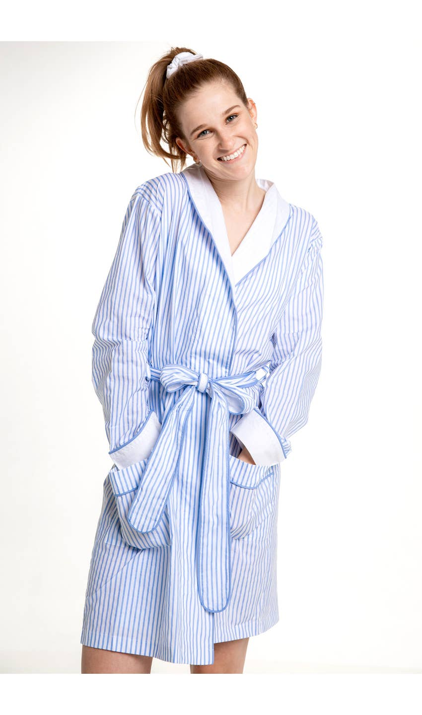 Stripe Cotton Robe - dolly mama boutique