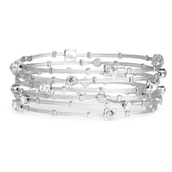 Seasonal Whispers Clear/Silver Bracelet - dolly mama boutique