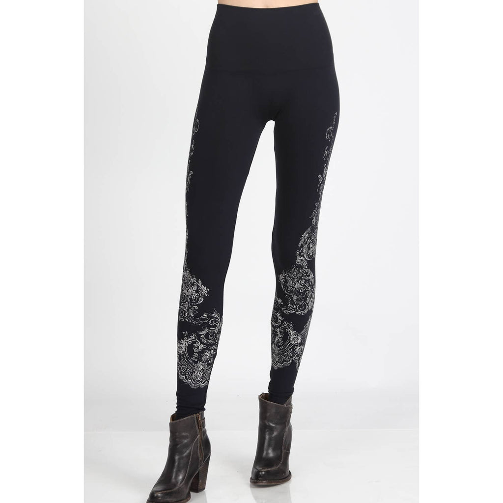 High Waist Leggings Subtle Damask Print