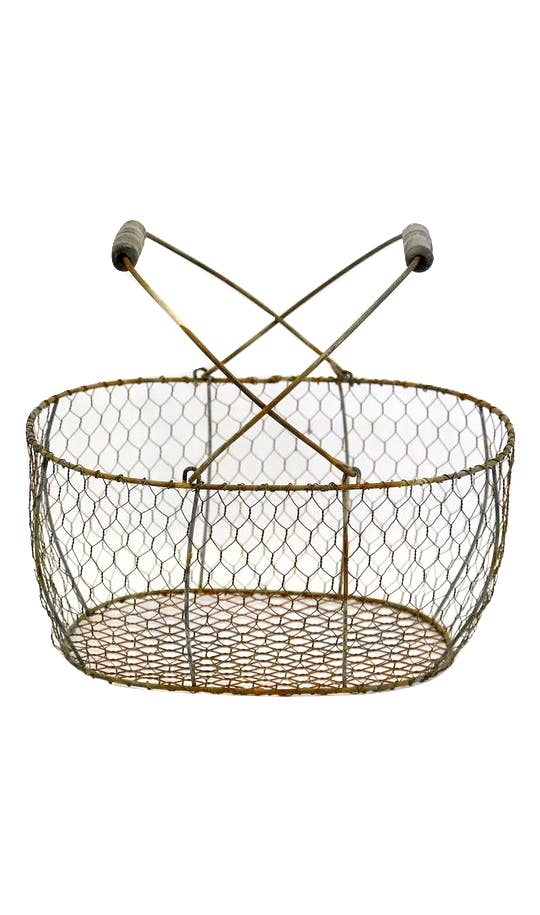 Oval Chicken Wire Basket with Folding Handles - dolly mama boutique