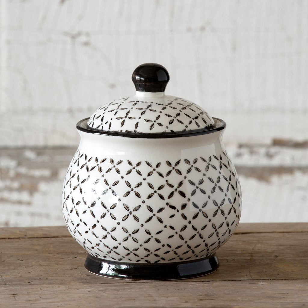 Norden Pattern Sugar Bowl with Lid - dolly mama boutique