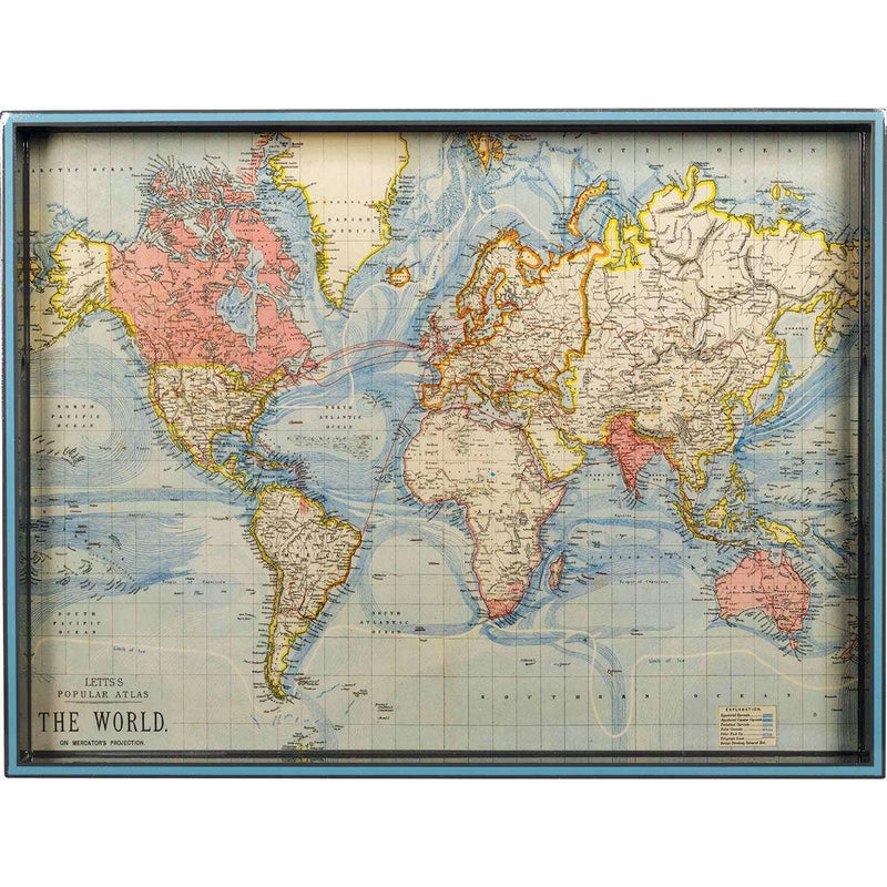 "World Map c. 1883 15"" x 20"" Art Tray - dolly mama boutique"