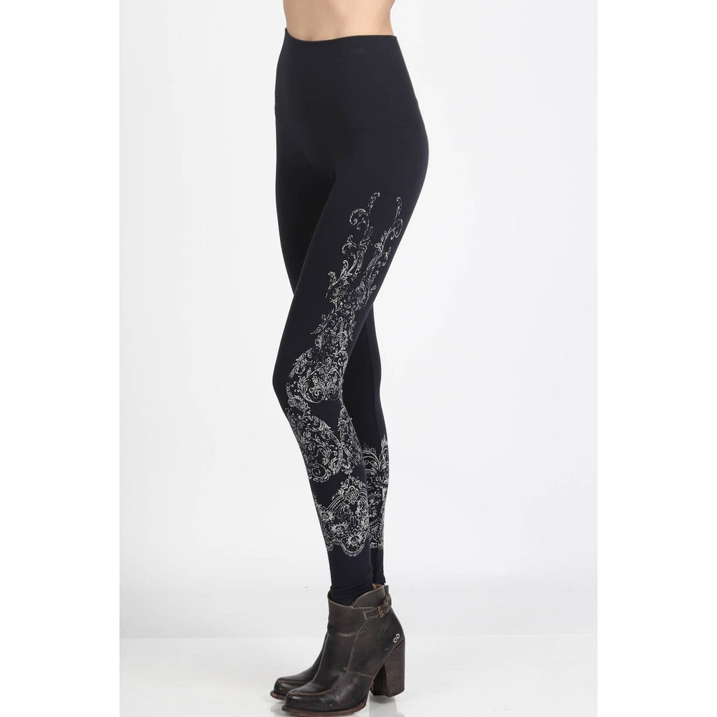 High Waist Leggings Subtle Damask Print - dolly mama boutique