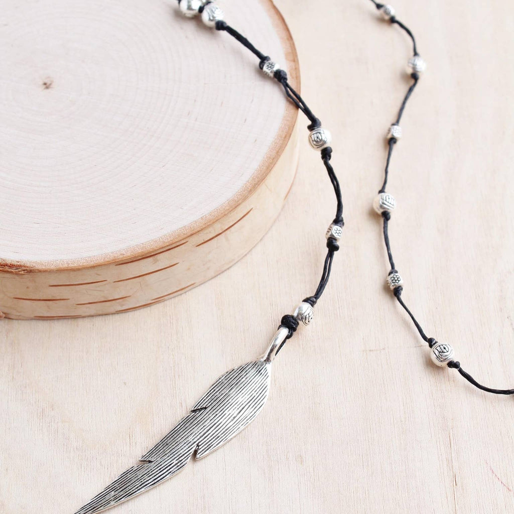 Silver Feather Alloy Necklace