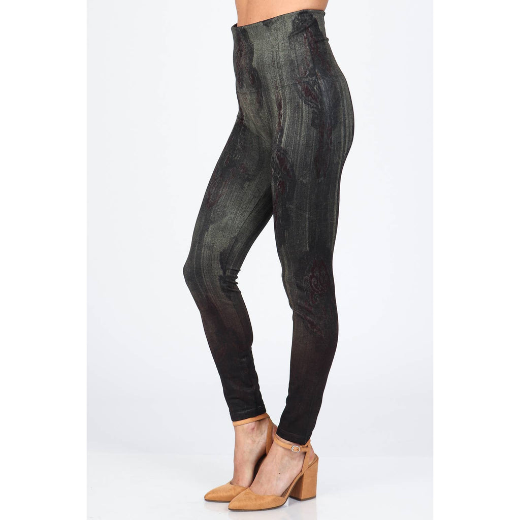 High Waist Leggings with Distressed Paisley Print