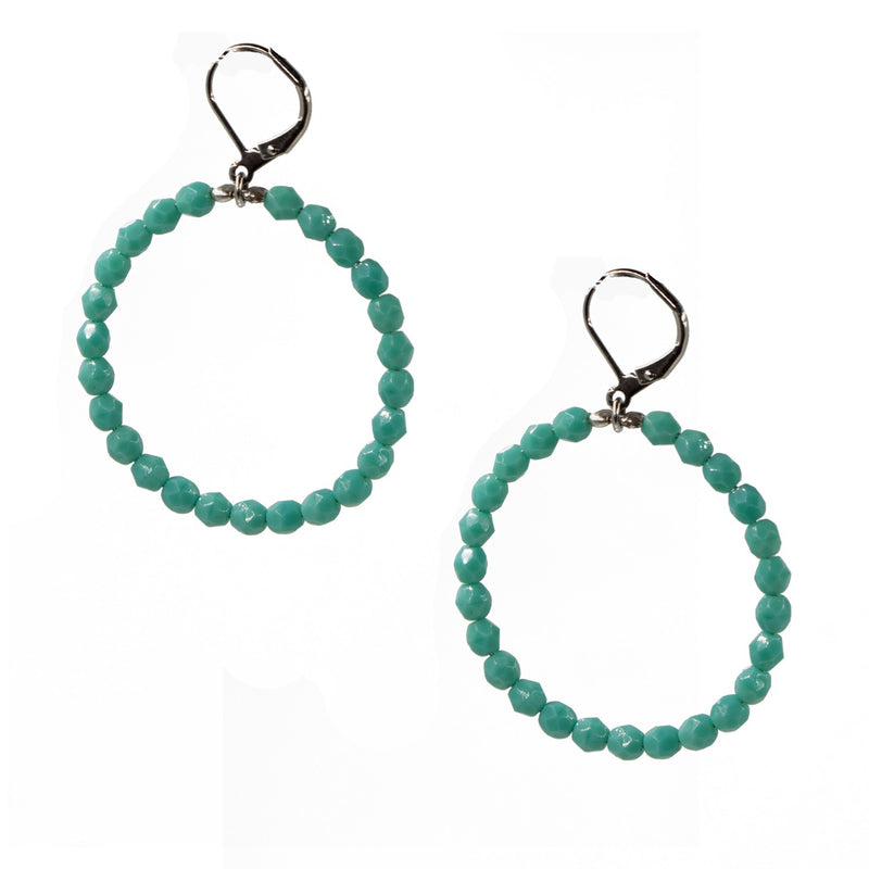 Seasonal Whispers Aqua Beaded Hoops - dolly mama boutique