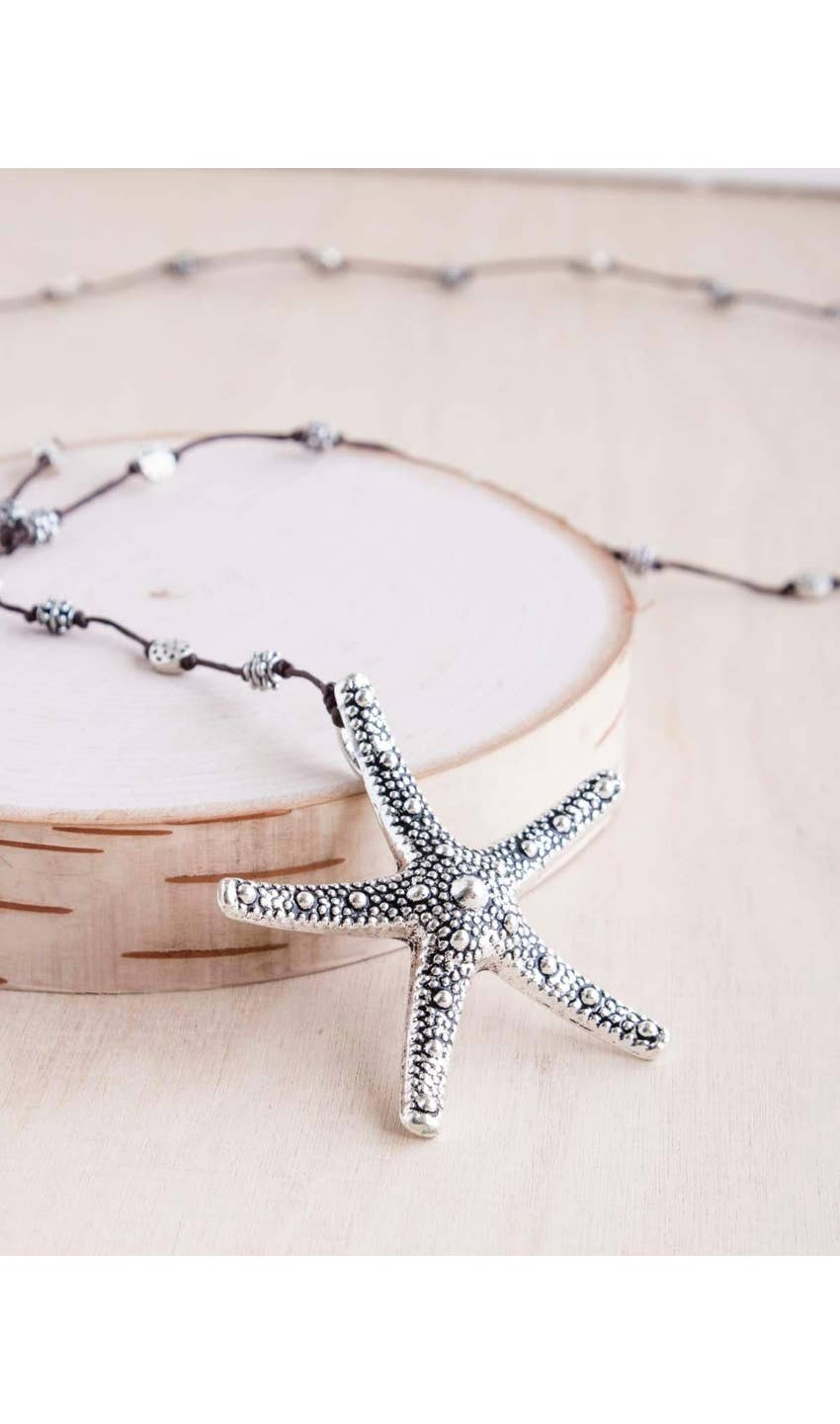 Silver Bumpy Starfish Necklace - dolly mama boutique