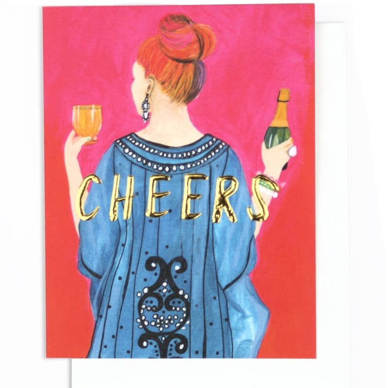 Cheers! Gold Foil Embossed Card - dolly mama boutique