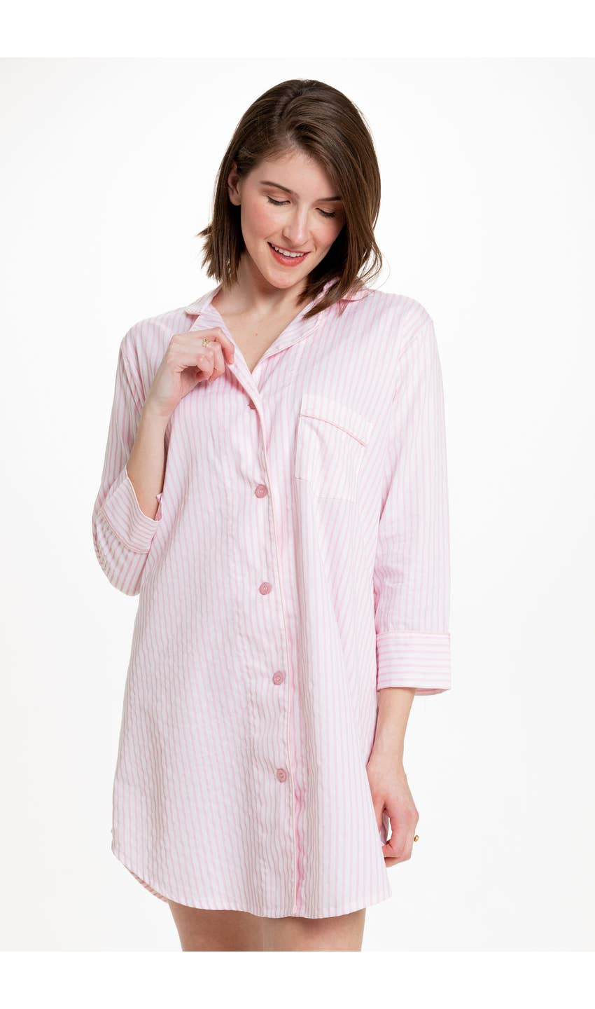 Button Down Stripe Sleep Shirt - dolly mama boutique