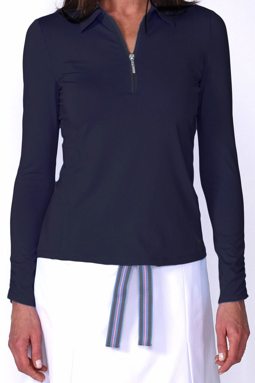 Long Sleeve Breathable Zip Polo - Navy - dolly mama boutique