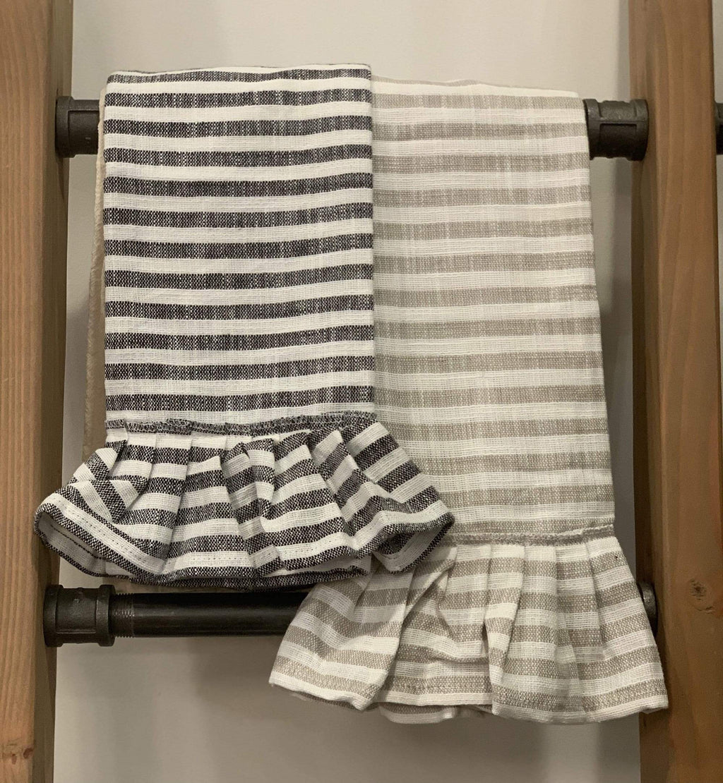 Ruffle Stripe Tea Towel - dolly mama boutique