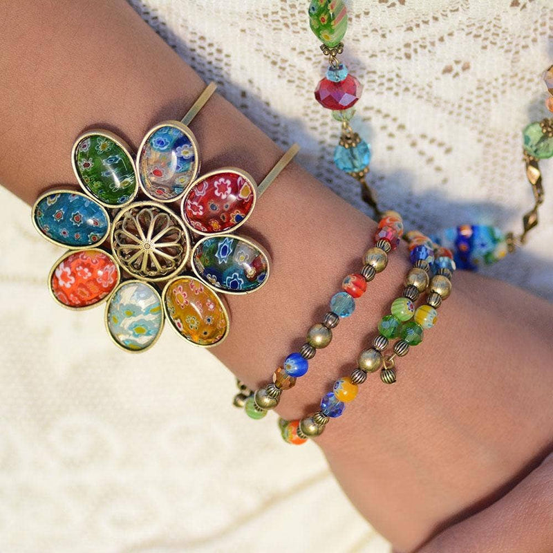 Millefiori Glass Candy Bead Wrap Bracelet - dolly mama boutique