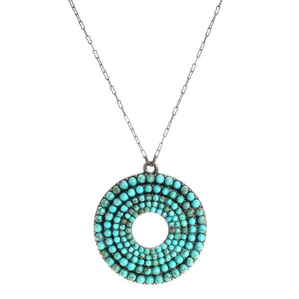 Stair Step Round Medallion Necklace