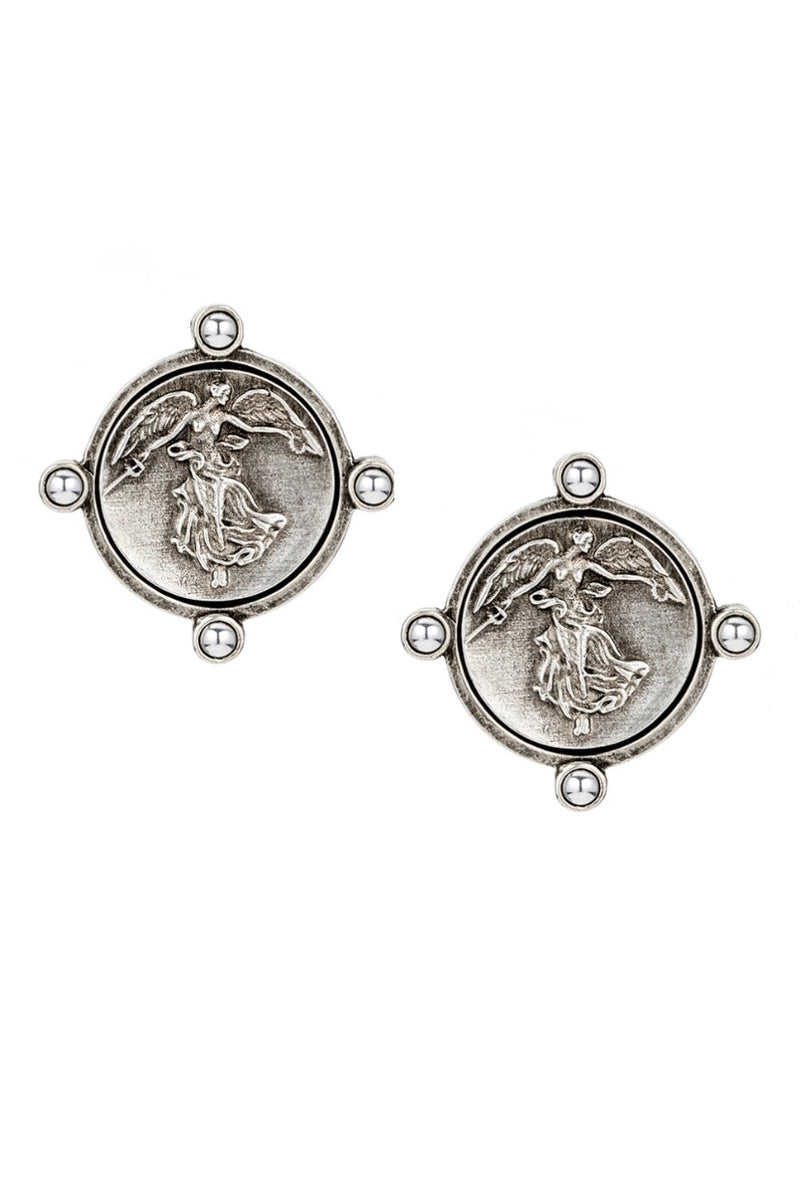 Oreille Earrings with Mini L'ange Medallion - dolly mama boutique