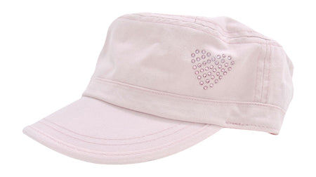 Cameron Military Cap, Crystal Heart - dolly mama boutique