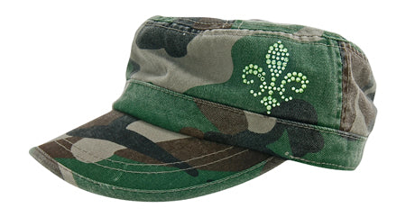 Cameron Military Cap, Fleur De Lis - dolly mama boutique