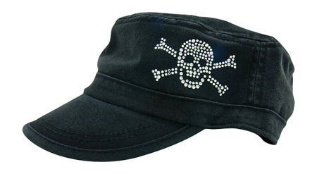 Cameron Military Cap, Skull & Crossbones - dolly mama boutique