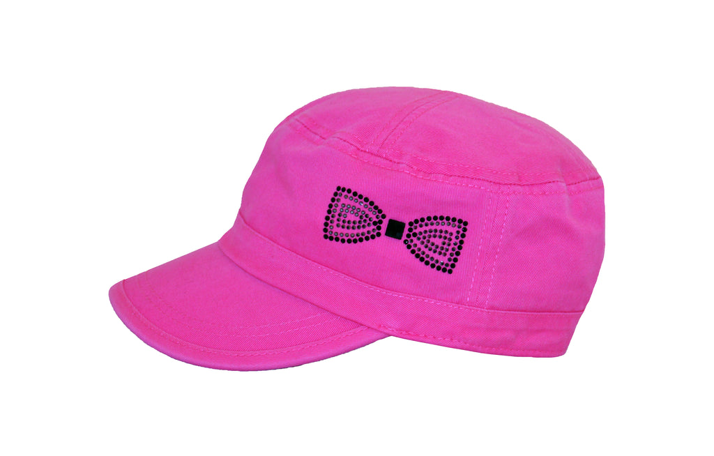 Cameron Military Cap, Crystal Bow - dolly mama boutique