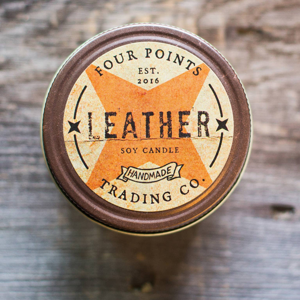 Leather 4 oz Soy Candle - dolly mama boutique